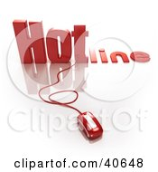 Clipart Illustration Of A Red 3d Computer Mouse Connected To A Hotline by Frank Boston
