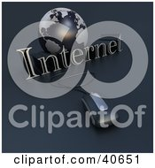 Clipart Illustration Of A 3d Computer Mouse Wired To A Blue Globe And The Word Internet