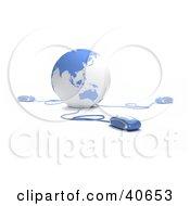 3d Computer Mice Extending From A Blue Globe