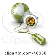 3d Computer Mouse Connected To A Green Globe With A Stopwatch