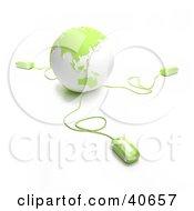 3d Computer Mice Extending From A Green Globe