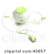 Clipart Illustration Of 3d Computer Mice Extending From A Green Globe by Frank Boston