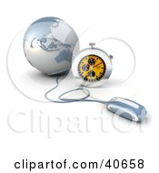 Clipart Illustration Of A 3d Computer Mouse Connected To A Blue Globe With A Stopwatch