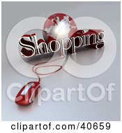 Clipart Illustration Of A 3d Computer Mouse Wired To A Red Globe And The Word Shopping