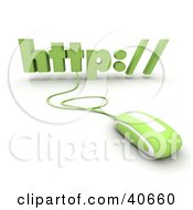 Clipart Illustration Of A Green 3d Computer Mouse Connected To Http
