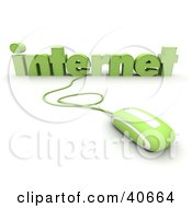 Clipart Illustration Of A Green 3d Computer Mouse Connected To Internet Text