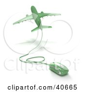Clipart Illustration Of A Green 3d Computer Mouse Wired To A Departing Airplane