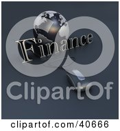 Clipart Illustration Of A 3d Computer Mouse Wired To A Blue Globe And The Word Finance