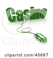Clipart Illustration Of A Green 3d Computer Mouse Connected To Casino Text