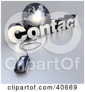 Clipart Illustration Of A 3d Computer Mouse Wired To A Silver Globe And The Word Contact