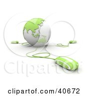 Clipart Illustration Of 3d Computer Mice Connected To A Light Green Globe