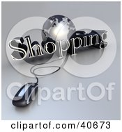 Clipart Illustration Of A 3d Computer Mouse Wired To A Silver Globe And The Word Shopping