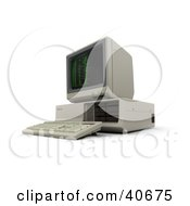 Clipart Illustration Of A Retro 3d Computer With Green Coding On The Screen