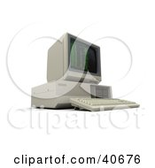Clipart Illustration Of A Vintage 3d Computer With Green Coding On The Screen