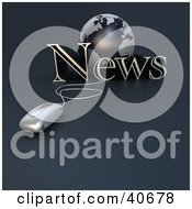 Clipart Illustration Of A 3d Computer Mouse Wired To A Blue Globe And The Word News