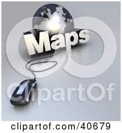Clipart Illustration Of A 3d Computer Mouse Wired To A Silver Globe And The Word Maps