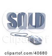 Clipart Illustration Of A Blue 3d Computer Mouse Connected To Sold Text