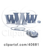 Clipart Illustration Of A Blue 3d Computer Mouse Connected To WWW