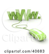 Clipart Illustration Of A Green 3d Computer Mouse Connected To WWW