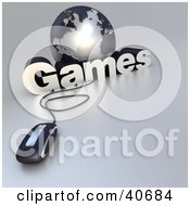 Clipart Illustration Of A 3d Computer Mouse Wired To A Silver Globe And The Word Games