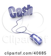 Clipart Illustration Of A Blue 3d Computer Mouse Connected To Cash Text