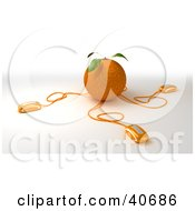 Clipart Illustration Of 3d Computer Mice Plugged Into An Orange