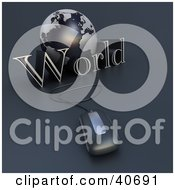 Clipart Illustration Of A 3d Computer Mouse Wired To A Blue Globe And The Word World