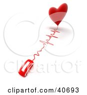 Clipart Illustration Of A 3d Computer Mouse Wired To A Heart With A Monitor Graph