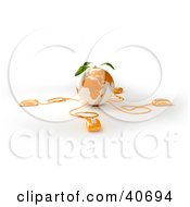 Clipart Illustration Of An Orange Globe With Leaves Connected To 3d Computer Mice