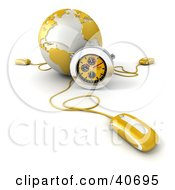 Clipart Illustration Of A 3d Computer Mouse Connected To A Yellow Globe With A Stopwatch