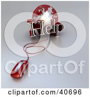 Clipart Illustration Of A 3d Computer Mouse Connected To A Red Globe And The Word Help