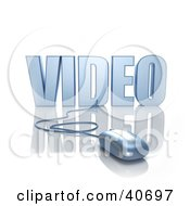 Clipart Illustration Of A Blue 3d Computer Mouse Connected To Video Text