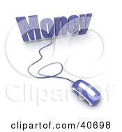 Clipart Illustration Of A Blue 3d Computer Mouse Connected To Money Text