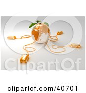 3d Computer Mice Emerging From An Orange Globe With Leaves