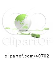 Clipart Illustration Of 3d Computer Mice Extending From A Light Green Globe