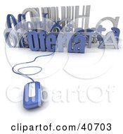 Clipart Illustration Of A 3d Computer Mouse Connected To A Bar Code And Oferta Text