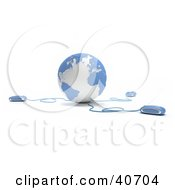 Clipart Illustration Of 3d Computer Mice Hooked Onto A Blue Globe