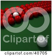 Clipart Illustration Of A White Cue Ball Facing Rows Of Red Snooker Balls With One White On A Billiards Pool Table by Frank Boston