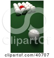 Clipart Illustration Of A Red Snooker Ball Mixed In With 3d Cue Balls On Green by Frank Boston