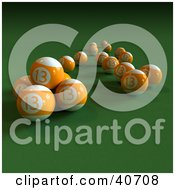 Clipart Illustration Of Orange 3d Number Thirteen Pool Balls On Green by Frank Boston
