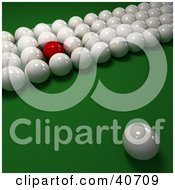 Clipart Illustration Of One Unique Red Snooker Ball Mixed In With Rows Of 3d Cue Balls On Green by Frank Boston