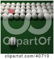 Clipart Illustration Of One Red Snooker Billiards Ball Mixed In With Rows Of 3d Cue Balls On Green by Frank Boston