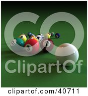 Clipart Illustration Of A 3d Cue Ball Near Scattered Snooker Balls On Green by Frank Boston