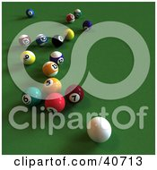 Clipart Illustration Of A 3d Cue Ball Near Scattered Pool Balls On Green