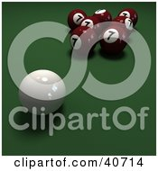 Clipart Illustration Of A Cue Ball Near Red Lucky Number Seven Billiards Balls On Green