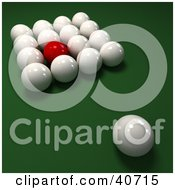 Clipart Illustration Of One Red Snooker Ball Mixed In With 3d Cue Balls On Green