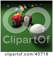 Clipart Illustration Of A 3d Cue Ball Near Scattered Billiards Pool Balls On Green