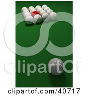 Clipart Illustration Of One Red Billiards Ball Mixed In With 3d Cue Balls On Green