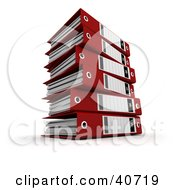 Clipart Illustration Of A Stack Of Red 3d Ring Binders With Blank Labels