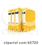 Clipart Illustration Of Four Yellow Binders With Blank Labels